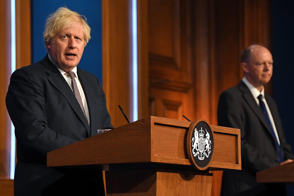 Prime Minister Boris Johnson (left) and Chief Medical Officer Professor Chris Whitty during a media briefing in Downing Street, London, on coronavirus (Covid-19). Picture date: Monday July 5, 2021.