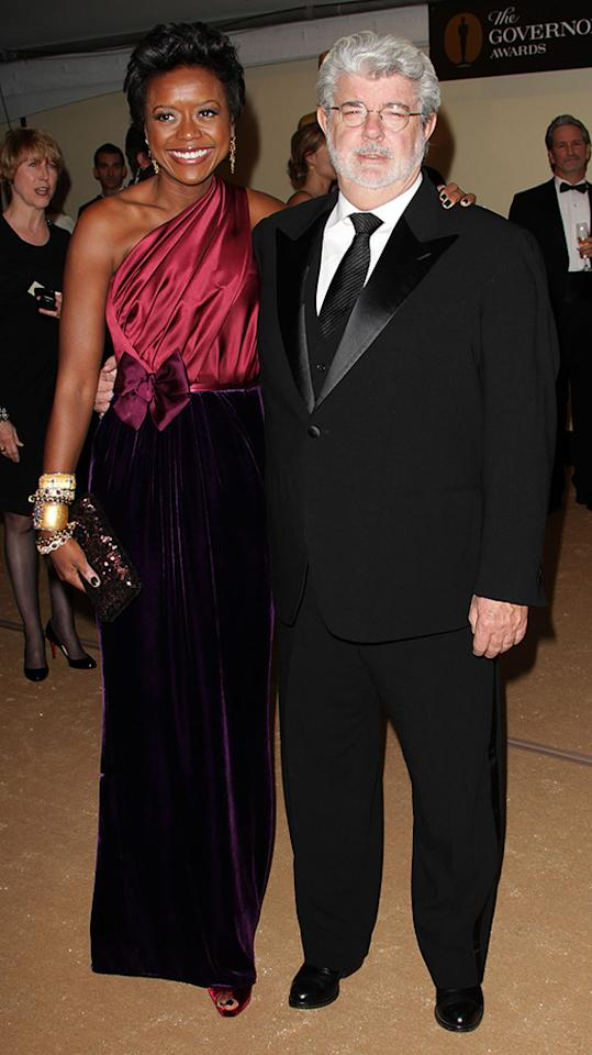 """<a href=""""http://movies.yahoo.com/movie/contributor/1800017101"""">George Lucas</a> and wife Mellody attend the 2nd Annual AMPAS Governors Awards in Los Angeles on November 13, 2010."""