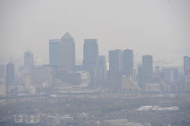 A view of smog lying over London from The View from The Shard, in south London. PRESS ASSOCIATION Photo. Picture date: Friday April 10, 2015. See PA story WEATHER Hottest. Photo credit should read: Nick Ansell/PA Wire