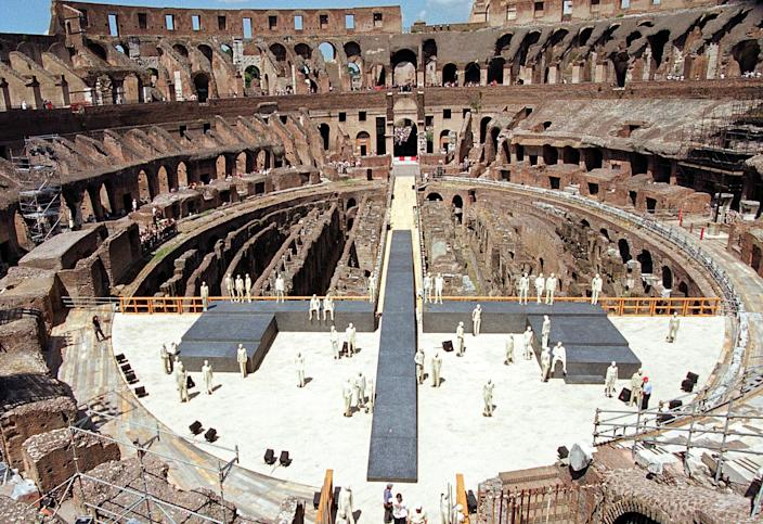 A view of the Rome's Colosseum's new stage, Monday, July 17, 2000. (AP Photo/Gregorio Borgia)