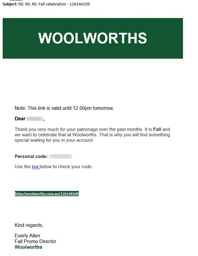Pictured is a screenshot of the scam email sent to Woolworths customers.
