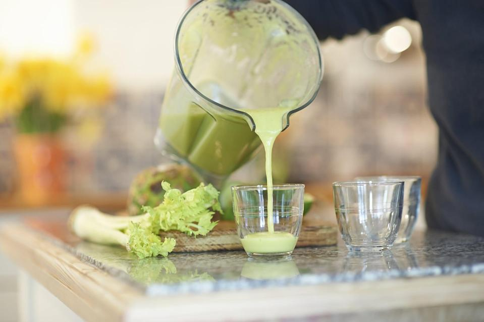 "<p>An easy way to get in your veggies? Add them to smoothies, said Chicago-based registered dietitian <a href=""https://www.amandalemein.com/"" class=""link rapid-noclick-resp"" rel=""nofollow noopener"" target=""_blank"" data-ylk=""slk:Amanda Baker Lemein"">Amanda Baker Lemein</a>, MS, LDN. She likes adding frozen cauliflower rice ""to bulk up smoothies without adding too much sugar from fruit,"" she told POPSUGAR. ""This increases the fiber and volume for very few calories, but helps keep you fuller for longer."" Here are <a href=""https://www.popsugar.com/fitness/Green-Smoothie-Recipes-40564529"" class=""link rapid-noclick-resp"" rel=""nofollow noopener"" target=""_blank"" data-ylk=""slk:17 tasty, veggie-packed smoothie recipes"">17 tasty, veggie-packed smoothie recipes</a> to get you started.</p>"