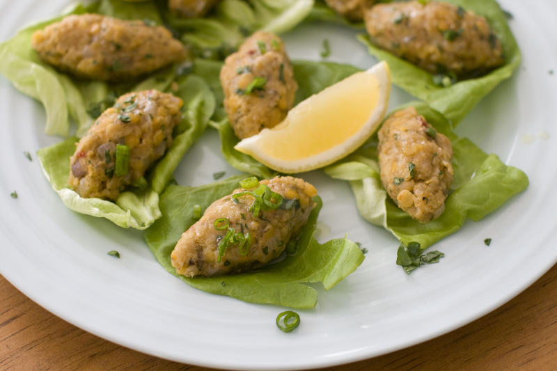 This image taken on Jan. 30, 2012 in Concord, N.H., shows vegetarian Turkish red lentil balls, a delicious, healthy and easy way to include a taste of Persian cuisine in your own Purim feast. (AP Photo/Matthew Mead)