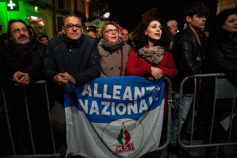 ROME, ITALY - MARCH 21: Sympathizers attend the rally of the Fratelli d'Italia - Alleanza Nazionale party on March 21, 2019 in Potenza, Italy. Giorgia Meloni is leader of the Brothers of Italy party - National Alliance which in the elections of March 24 supports the center-right candidate, general of the Guardia di Finanza Vito Bardi. (Photo by Ivan Romano/Getty Images) (Photo: Ivan Romano via Getty Images)