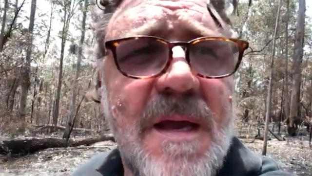 Russell Crowe shared a video of his attempts to access his scorched property. Photo: Twitter/russellcrowe