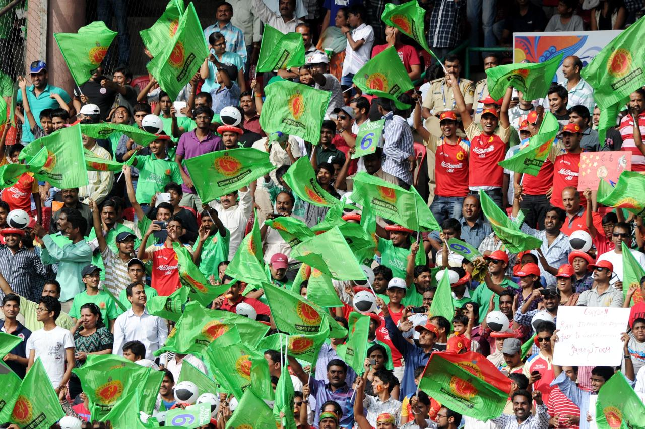 Fans at during the match between Royal Challengers Bangalore and Kings XI Punjab at Chinnaswamy Stadium in Bangalore on May 14, 2013. (Photo: IANS)