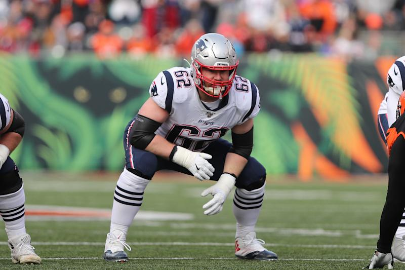 New England Patriots offensive guard Joe Thuney (62) got the franchise tag. (Photo by Ian Johnson/Icon Sportswire via Getty Images)