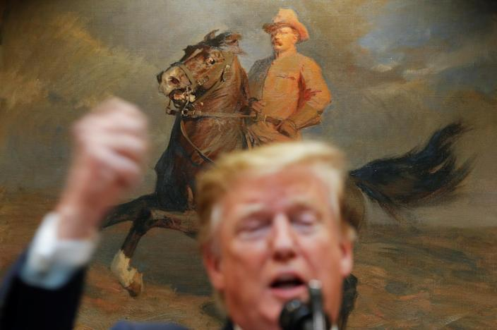 A portrait of former U.S. President Theodore Roosevelt hangs in the background as U.S. President Donald Trump delivers remarks on United States 5G deployment in the Roosevelt Room of the White House in Washington, U.S., April 12, 2019. REUTERS/Carlos Barria