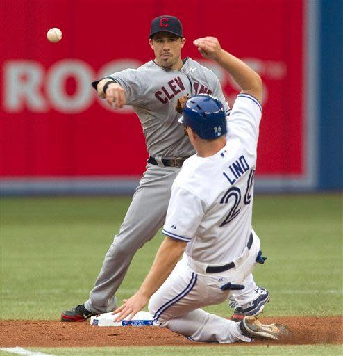 Cleveland Indians second baseman Jason Kipnis throws to first after forcing out Toronto Blue Jays' Adam Lind at second during a double play during the second inning of a baseball game in Toronto on Friday, July 13 , 2012. (AP Photo/The Canadian Press, Chris Young)