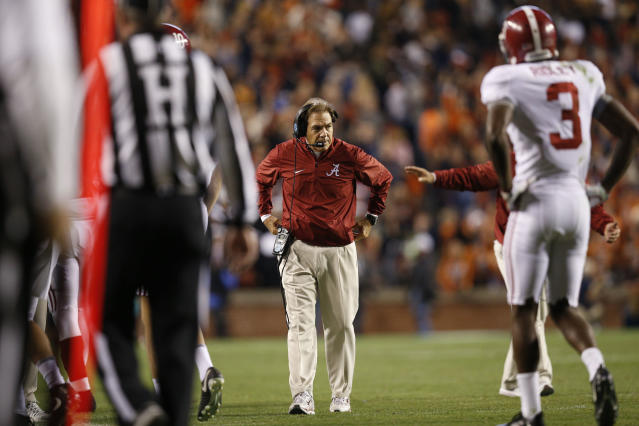 Nick Saban thinks Alabama deserves a spot in the College Football Playoff, but the Crimson Tide will probably need some help to get in. (AP)