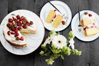 """This impressive, summery, thyme-scented layer cake is easier to pull off than it looks. <a href=""""https://www.epicurious.com/recipes/food/views/strawberry-shortcake-with-thyme-and-whipped-cream?mbid=synd_yahoo_rss"""" rel=""""nofollow noopener"""" target=""""_blank"""" data-ylk=""""slk:See recipe."""" class=""""link rapid-noclick-resp"""">See recipe.</a>"""