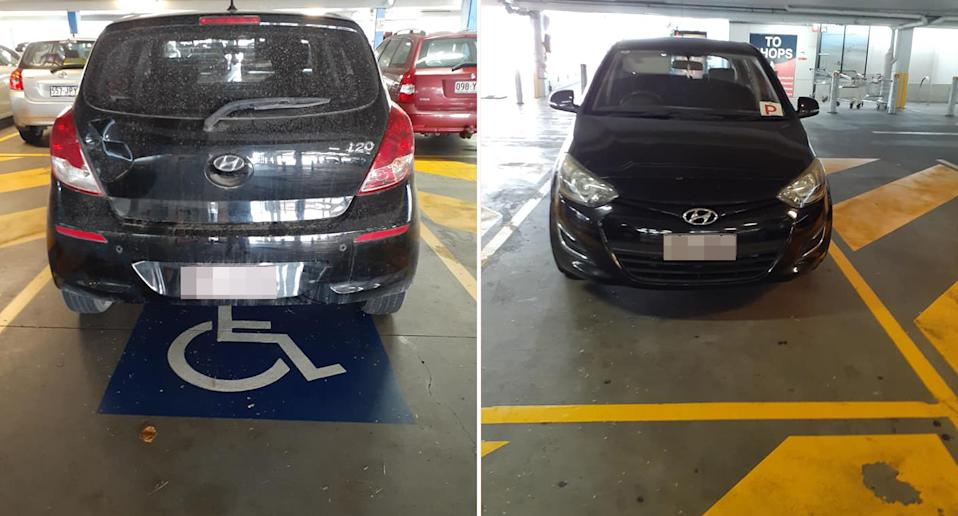 A Hyundai with a p-plate is pictured parked in a disabled spot at Big Top Maroochydore.