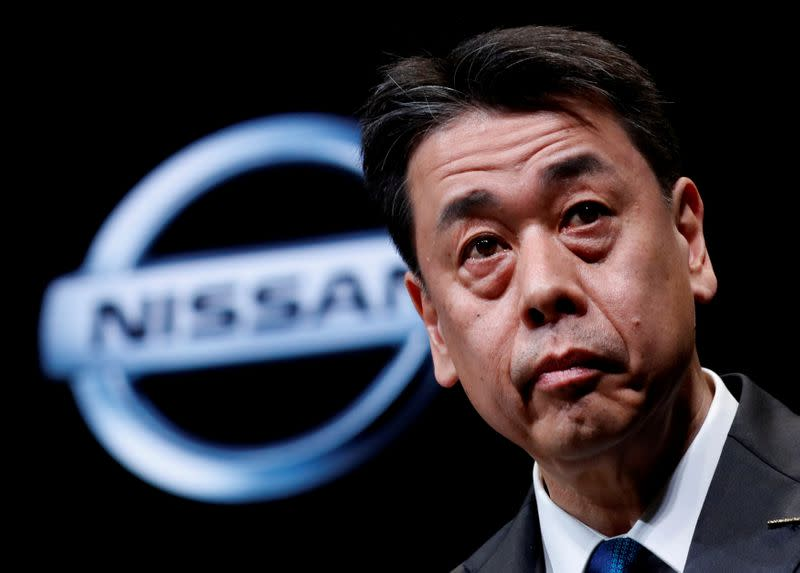 FILE PHOTO: Nissan Motor chief executive Makoto Uchida speaks during a news conference at Nissan Motor headquarters in Yokohama