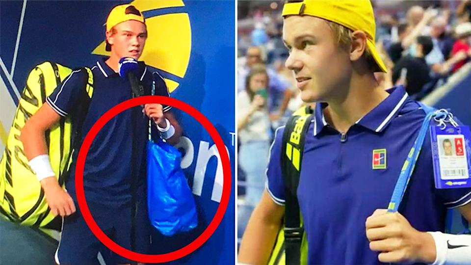 Holger Rune (pictured left) conducting an interview holding an IKEA bag and (pictured right) walking out to Arthur Ashe stadium.