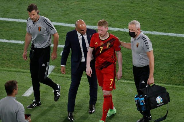De Bruyne, pictured, and Hazard are both injury doubts for Belgium