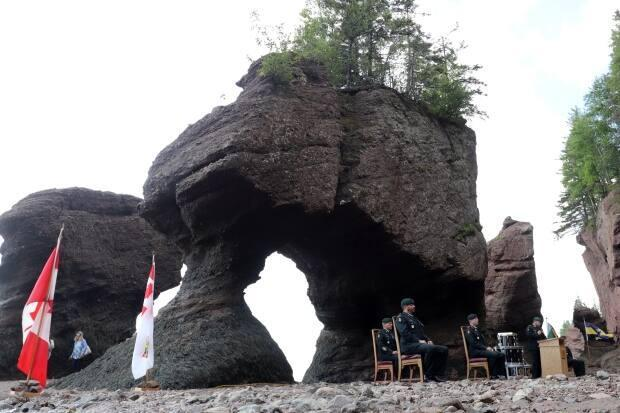 A change of command ceremony was held at Hopewell Rocks on Tuesday for the 2nd Battalion, Royal Canadian Regiment located at 5th Canadian Division Support Base Gagetown. (Shane Magee/CBC - image credit)