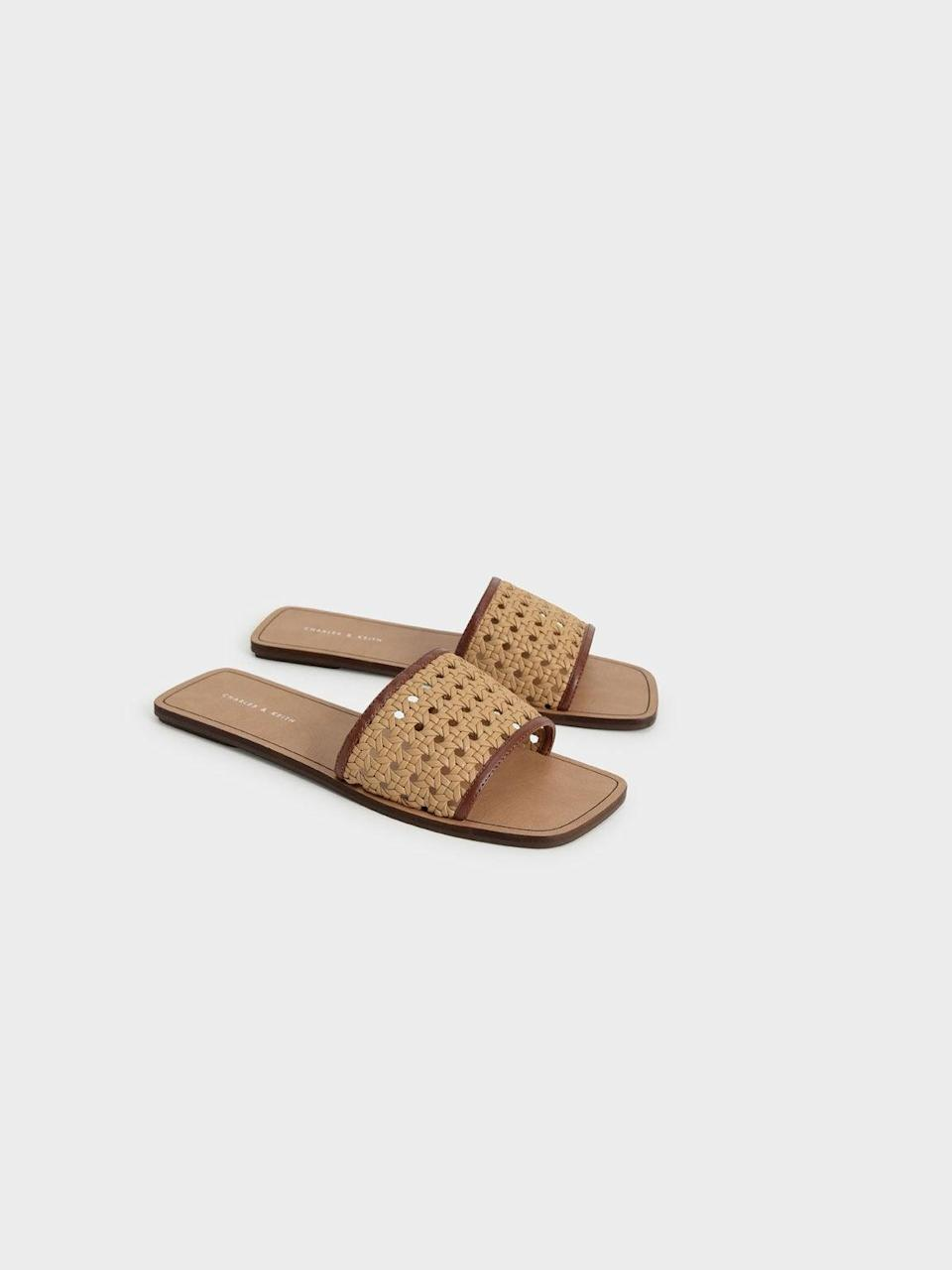 """<br><br><strong>Charles & Keith</strong> Woven Slide Sandals, $, available at <a href=""""https://go.skimresources.com/?id=30283X879131&url=https%3A%2F%2Fwww.charleskeith.com%2Fus%2Fshoes%2FCK1-70380867_BROWN.html"""" rel=""""nofollow noopener"""" target=""""_blank"""" data-ylk=""""slk:Charles & Keith"""" class=""""link rapid-noclick-resp"""">Charles & Keith</a>"""