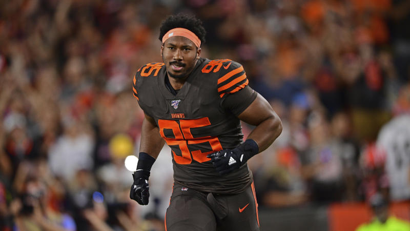 Browns defensive end Myles Garrett will remain in Cleveland deep into his prime years. (AP Photo/David Dermer)