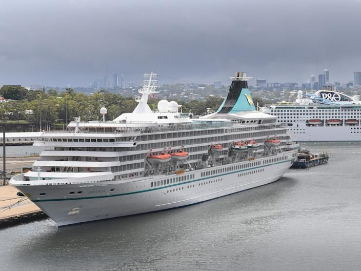 The Artania cruise ship in front of P&O Cruises Pacific Explorer in Sydney, Australia on March 16, 2020
