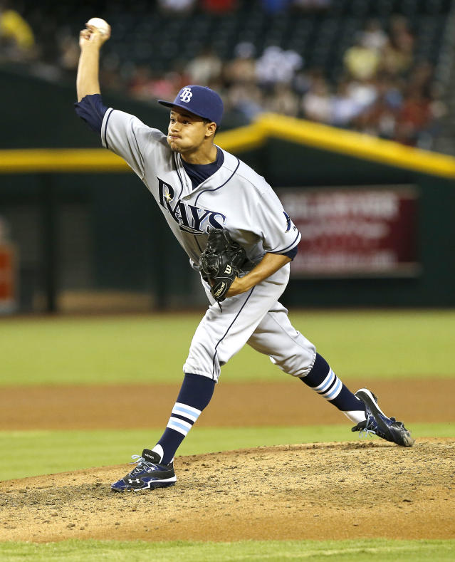 Tampa Bay Rays pitcher Chris Archer delivers against the Arizona Diamondbacks during the first inning of a baseball game on Wednesday, Aug. 7, 2013, in Phoenix. (AP Photo/Matt York)