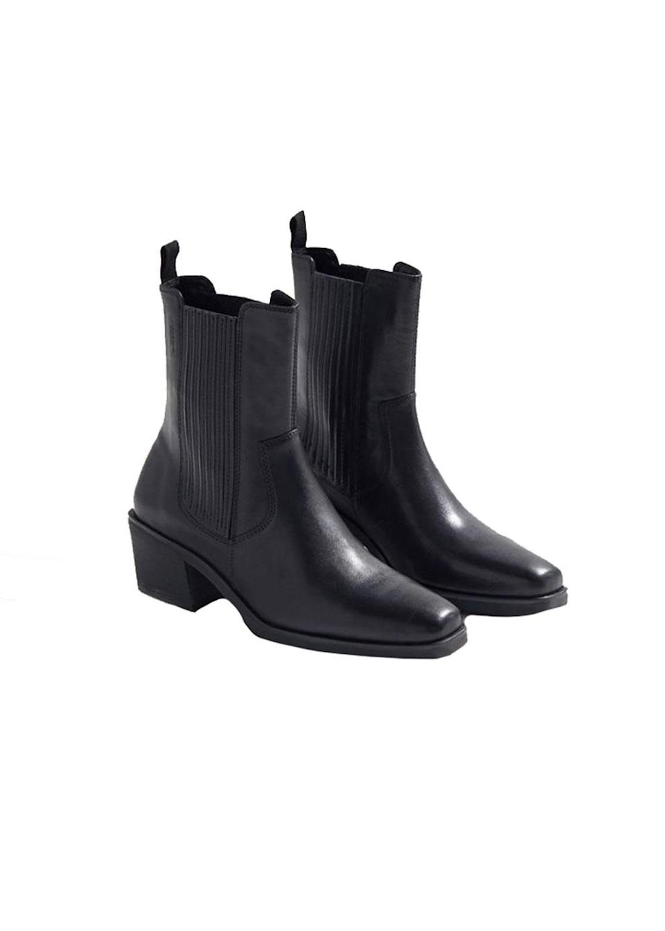 """<p>Jump on the Western bandwagon with these modern cowboy boots.<br><a href=""""https://fave.co/2qserAA"""" rel=""""nofollow noopener"""" target=""""_blank"""" data-ylk=""""slk:Shop it:"""" class=""""link rapid-noclick-resp"""">Shop it:</a> Simone Cowboy Boot, $195, <a href=""""https://fave.co/2qserAA"""" rel=""""nofollow noopener"""" target=""""_blank"""" data-ylk=""""slk:urbanoutfitters.com"""" class=""""link rapid-noclick-resp"""">urbanoutfitters.com</a> </p>"""