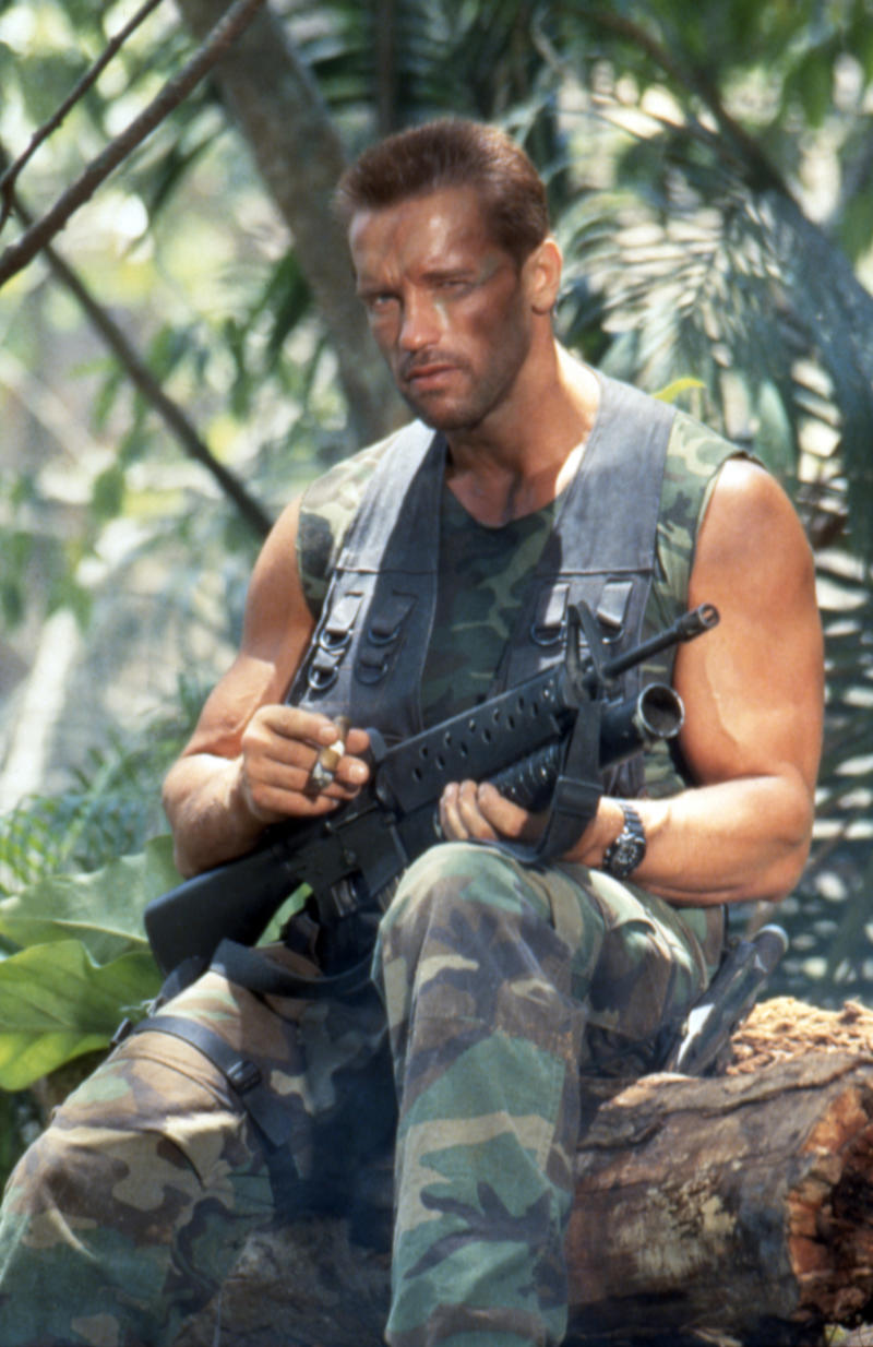 "Arnold Schwarzenegger on the set of ""Predator"". (Photo by Sunset Boulevard/Corbis via Getty Images)"