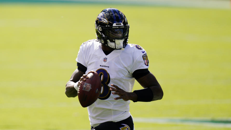 Baltimore Ravens quarterback Lamar Jackson plays during an NFL game against the Philadelphia Eagles.