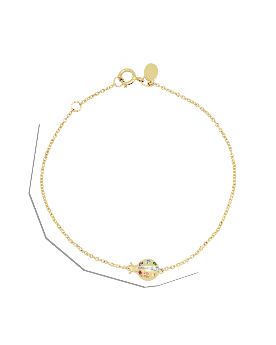 """$395, Eriness Jewelry. <a href=""""https://eriness.com/collections/bracelets/products/multi-colored-crawling-ladybug-bracelet?variant=31170260598853"""" rel=""""nofollow noopener"""" target=""""_blank"""" data-ylk=""""slk:Get it now!"""" class=""""link rapid-noclick-resp"""">Get it now!</a>"""