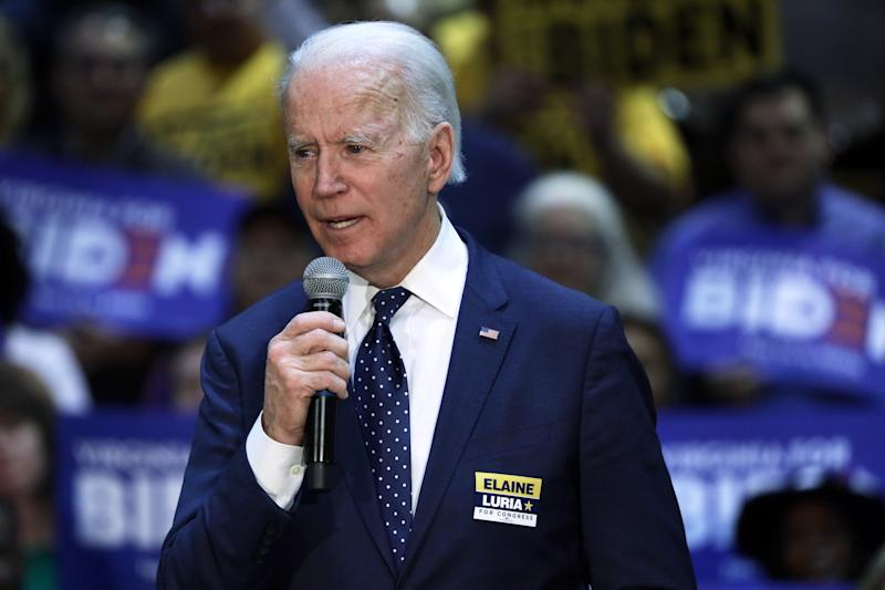 NORFOLK, VIRGINIA - MARCH 01: Democratic presidential candidate former Vice President Joe Biden speaks during a campaign event at Booker T. Washington High School March 1, 2020 in Norfolk, Virginia. After his major win in South Carolina, Biden continues to campaign for the upcoming Super Tuesday Democratic presidential primaries. (Photo by Alex Wong/Getty Images)