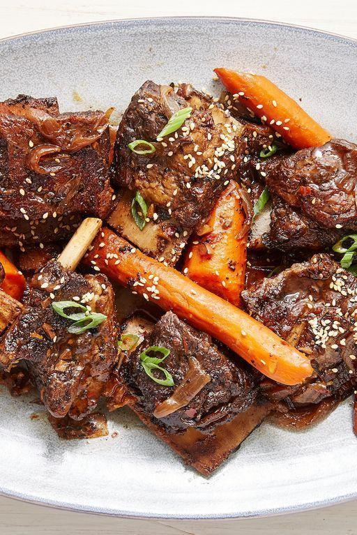 """<p>Looking for something outside the norm to serve for a special occasion? Few things feel as special—and as satisfying—as a well cooked beef <a href=""""https://www.delish.com/uk/cooking/recipes/a31389371/instant-pot-short-ribs-recipe/"""" rel=""""nofollow noopener"""" target=""""_blank"""" data-ylk=""""slk:short rib"""" class=""""link rapid-noclick-resp"""">short rib</a>. This version is fall-off-the-bone tender and insanely flavourful.</p><p>Get the <a href=""""https://www.delish.com/uk/cooking/recipes/a31465489/slow-cooker-short-ribs-recipe/"""" rel=""""nofollow noopener"""" target=""""_blank"""" data-ylk=""""slk:Slow Cooker Short Ribs"""" class=""""link rapid-noclick-resp"""">Slow Cooker Short Ribs</a> recipe.</p>"""