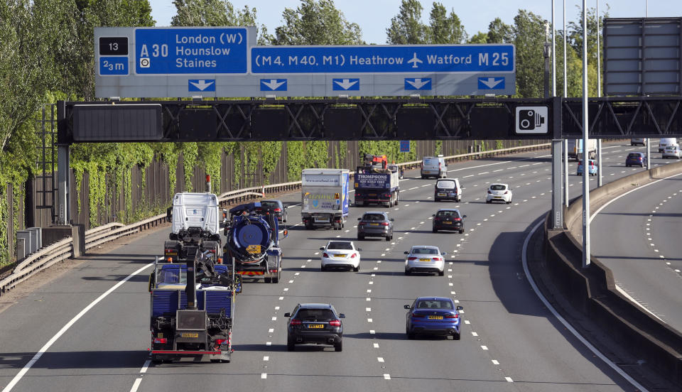 "Traffic on the M25 motorway near Egham, Surrey, after the Prime Minister Boris Johnson said people who cannot work from home should be ""actively encouraged"" to return to their jobs from Monday."