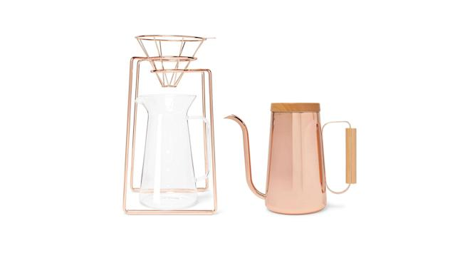 "<p>H.A.N.D. copper-tone coffee set, $300, <a href=""https://www.mrporter.com/en-us/mens/toast_living/h-a-n-d-copper-tone-coffee-set/1017310"" rel=""nofollow noopener"" target=""_blank"" data-ylk=""slk:mrporter.com"" class=""link rapid-noclick-resp"">mrporter.com</a> </p>"