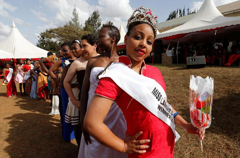 Ruth Kamande was named Miss Langata Prison 2016 and participated in a fashion parade (above) as part of the prison's Valentine's Day celebration, dubbed 'love behind bars': Reuters