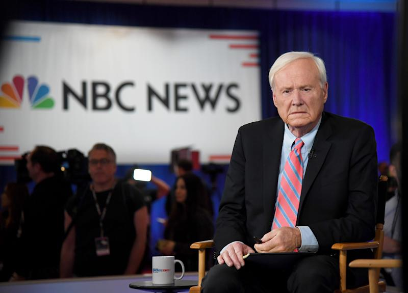Chris Matthews of MSNBC waits to go on the air inside the spin room at Bally's Las Vegas Hotel & Casino after the Democratic presidential primary debate on Feb. 19, 2020 in Las Vegas, Nevada.