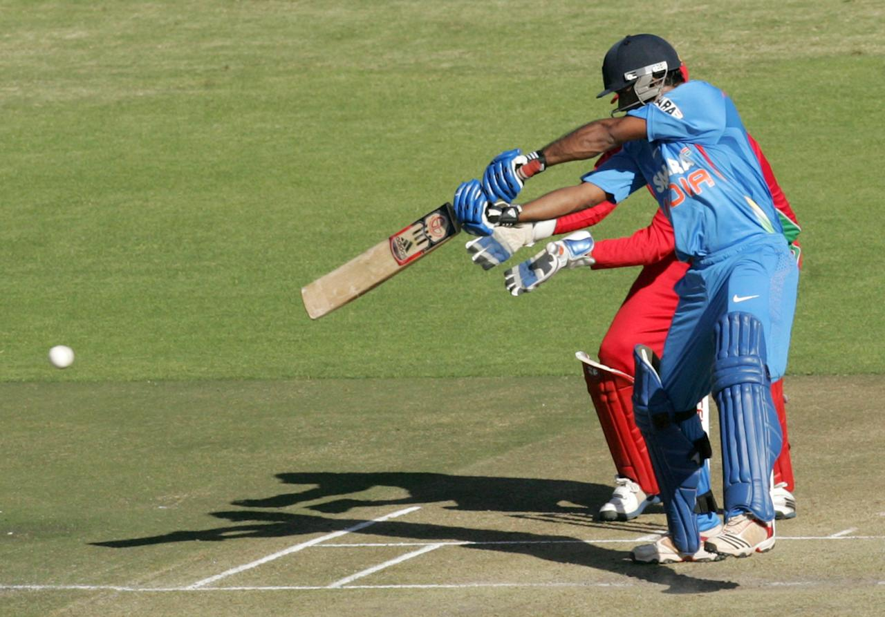 India's Ambati Rayudu bats during the first match of the five match ODI cricket series between India and hosts Zimbabwe at the Harare Sports Club on July 24, 2013. AFP PHOTO /Jekesai Njikizana        (Photo credit should read JEKESAI NJIKIZANA/AFP/Getty Images)