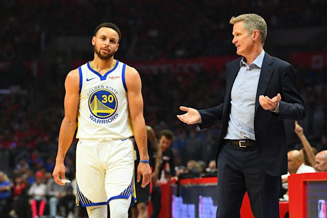 Steve Kerr was struggling to get Steph Curry to stop fouling. So he turned to mom for help. (Brian Rothmuller/Getty Images)