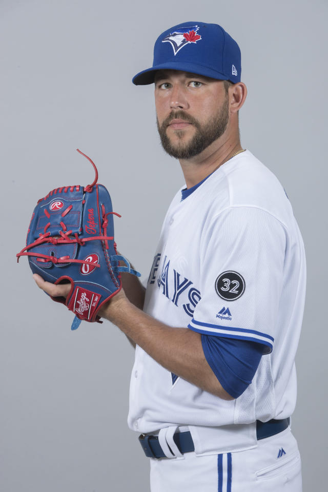 This is a 2018 photo of Ryan Tepera of the Toronto Blue Jays baseball team. This image reflects the 2018 active roster as of Thursday, Feb. 22, when this image was taken. (AP Photo/John Minchillo)