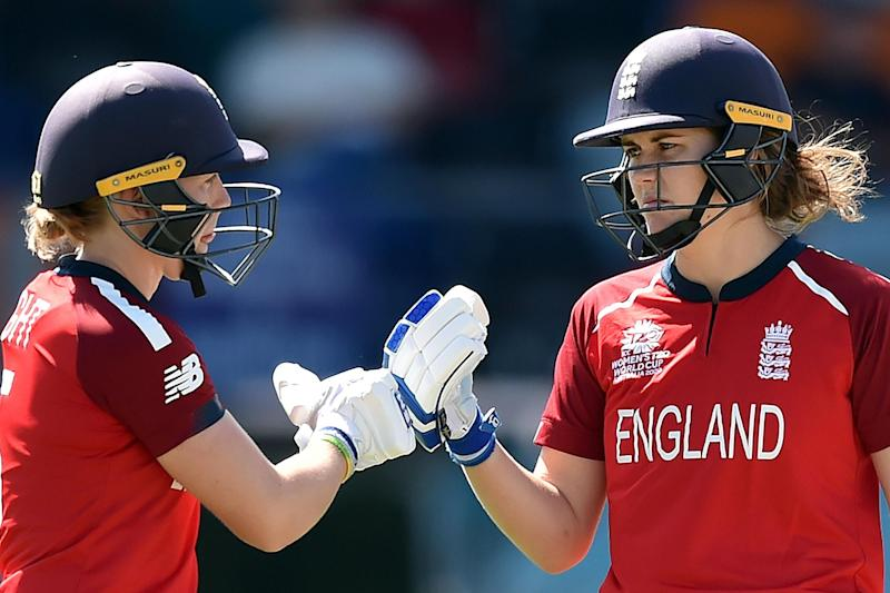 Knight and Nat Sciver teamed up for the highest partnership in T20 World Cup history (AFP via Getty Images)