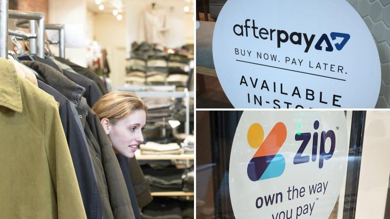 A woman hiding at a clothing store on the left, shop window signs for Afterpay and Zip Pay on the right.