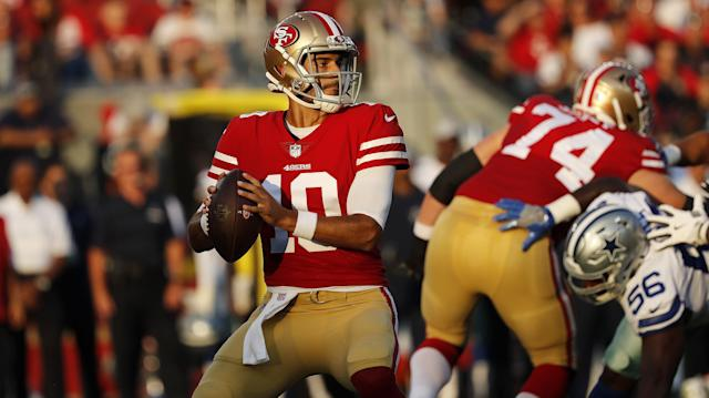 San Francisco 49ers quarterback Jimmy Garoppolo (10) against the Dallas Cowboys during an NFL preseason football game in Santa Clara, Calif., Thursday, Aug. 9, 2018. (AP Photo/Josie Lepe)