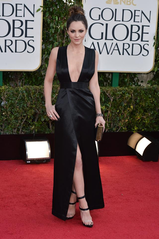 BEVERLY HILLS, CALIFORNIA - JANUARY 13:  Actress Katharine McPhee arrives at the 70th Annual Golden Globe Awards held at The Beverly Hilton Hotel on January 13, 2013 in Beverly Hills, California.  (Photo by George Pimentel/WireImage)