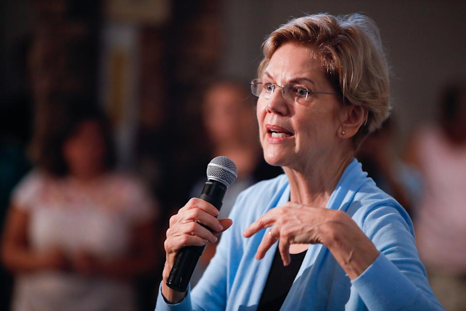 ORANGE CITY, IOWA, UNITED STATES - 2019/07/19: Elizabeth Warren speaks at her campaigns for the Democratic nomination for the 2020 United States presidential election during a Community Conversation at Prairie Winds Event Center in Orange City. (Photo by Jeremy Hogan/SOPA Images/LightRocket via Getty Images)