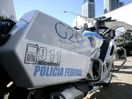 A Federal Police motorcycle with the G20 logo is pictured during the presentation of security equipment to be used at the G20 Summit, in Buenos Aires, Argentina November 16, 2018. Argentine Ministry of Security/Handout via REUTERS