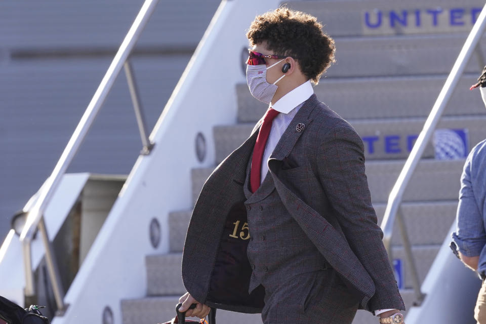 Kansas City Chiefs quarterback Patrick Mahomes arrives for the NFL Super Bowl 55 football game against the Tampa Bay Buccaneers, Saturday, Feb. 6, 2021, in Tampa, Fla. (AP Photo/Charlie Riedel)