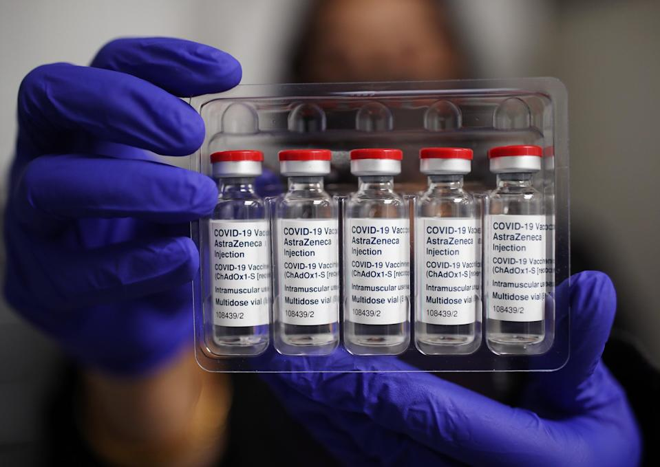 Vials of the Oxford/AstraZeneca coronavirus vaccine at Copes Pharmacy and Travel Clinic in Streatham, south London (Yui Mok/PA) (PA Wire)