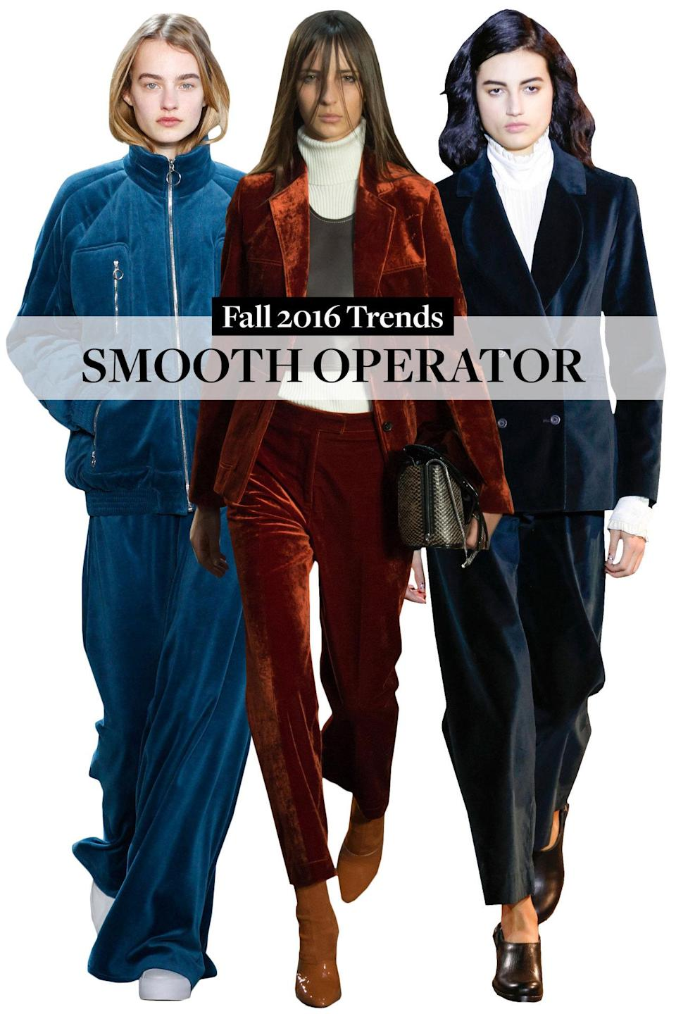 <p>Velvets suits were standout, including a sexy 60s-style green-velvet one from Frame Denim and a blue-velvet, wide-pants tracksuit from Lacoste.</p>