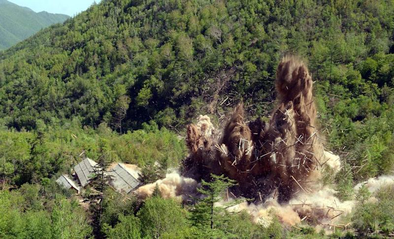 A demolition 'ceremony' at North Korea's Punggye-ri nuclear test facility in May.