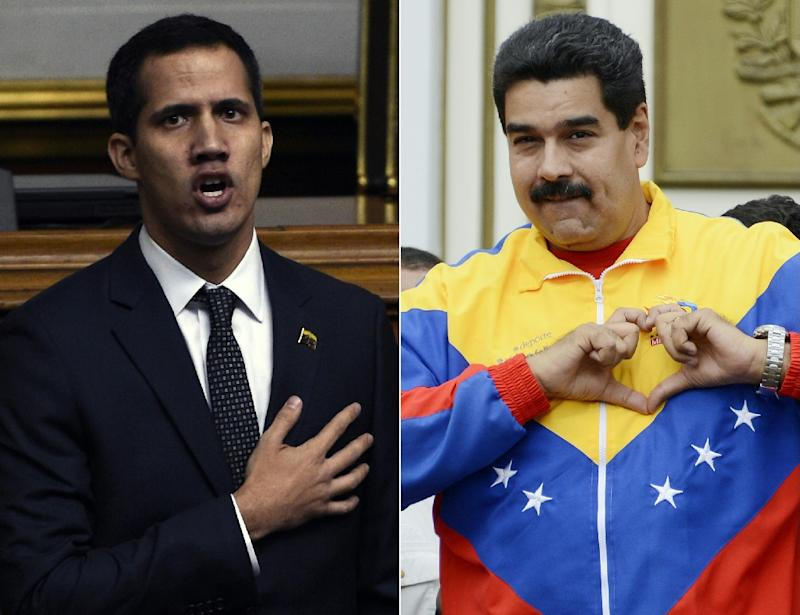 Opposition leader Juan Guaido (L) is locked in a battle with President Nicolas Maduro (R) for control of Venezuela