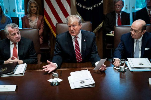 PHOTO: In this Feb. 12, 2019, file photo, President Donald J. Trump, flanked by Deputy Secretary of State John Sullivan and Secretary of Commerce Wilbur Ross, speaks during a cabinet meeting in the Cabinet Room at the White House in Washington, DC. (The Washington Post/Getty Images, FILE)