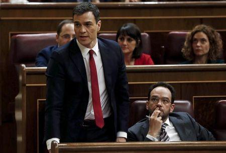 Spain's Socialist Party (PSOE) leader Pedro Sanchez reacts during an investiture debate at the parliament in Madrid, Spain, March 4, 2016. REUTERS/Juan Medina
